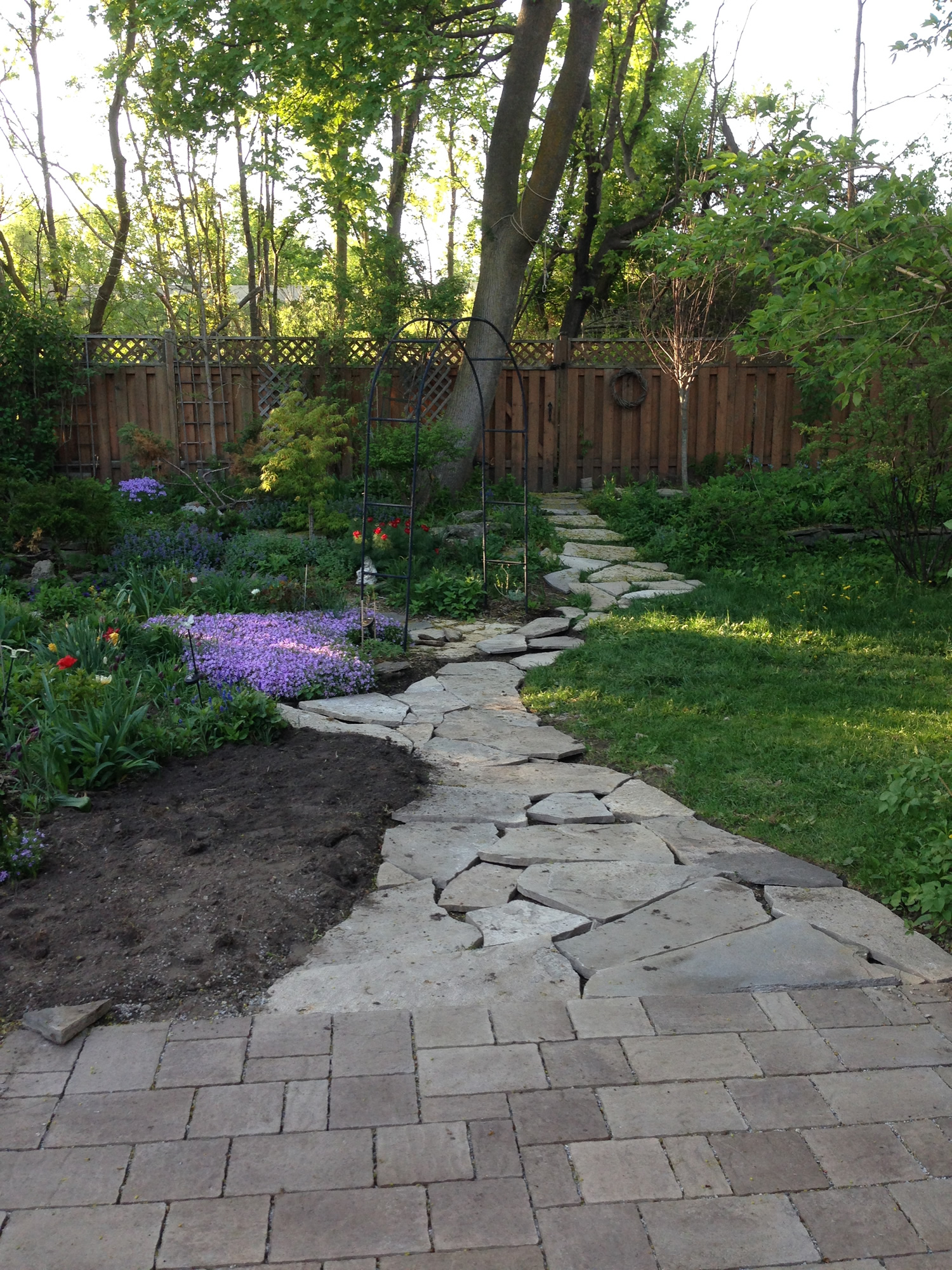 Completed Flagstone Path connecting Patio to Back Gate
