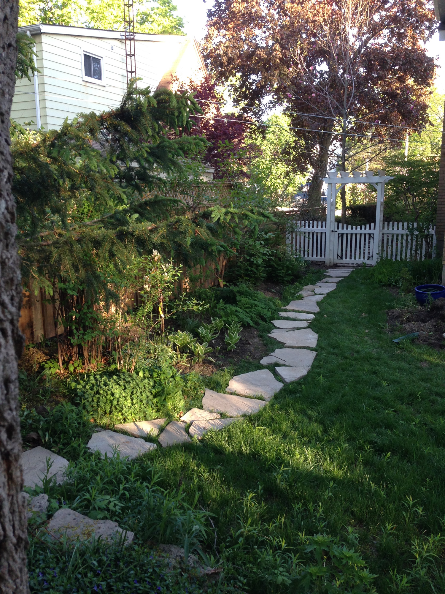 Flagstone Path Bordering Eastern Garden Bed