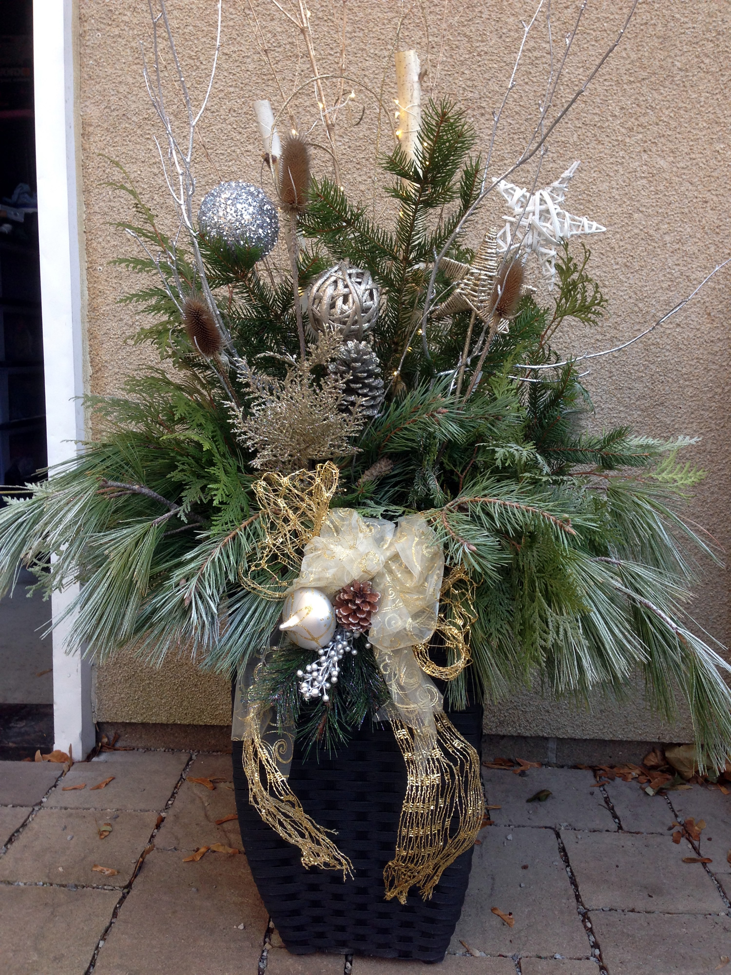Gold Silver Christmas Planter