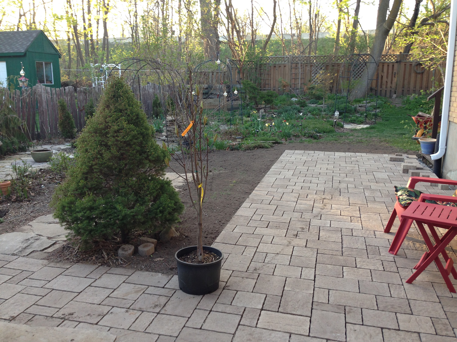 Patio Over French Drain Constructed by Empire Landscaping