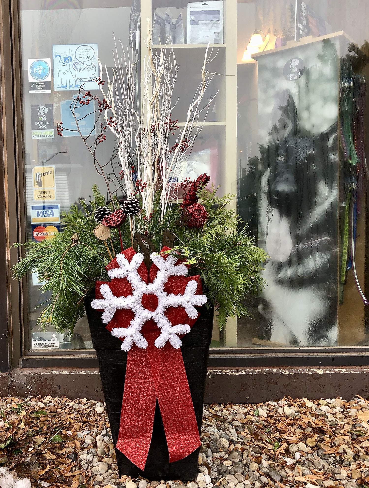 Christmas Planter with white snowflake and red ribbon