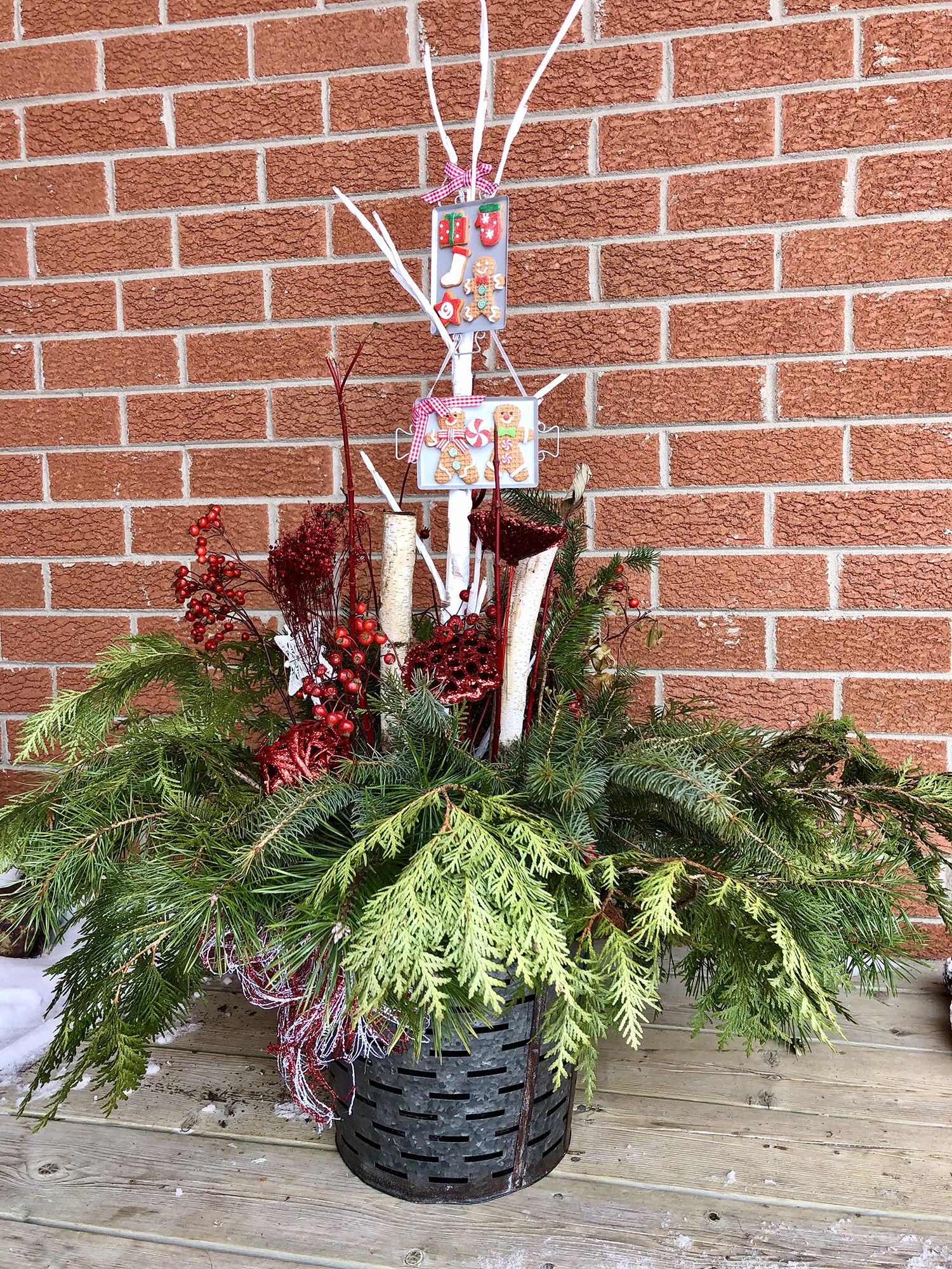 Christmas Planter with greenery and berries