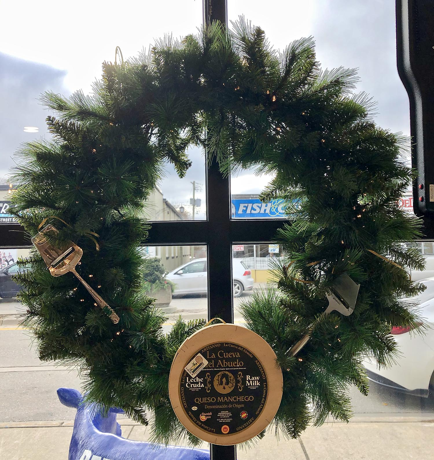Custom made wreath hung in a window