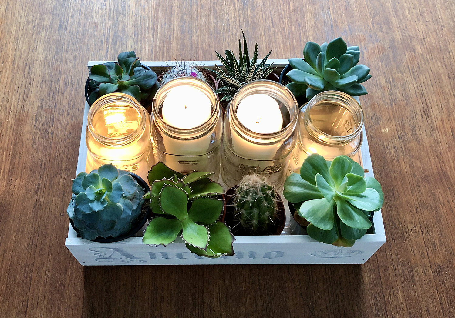 Table centrepiece with succulents and candles